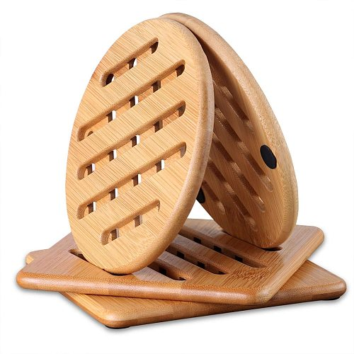 Bamboo Trivet Home Kitchen Bamboo Hot Pads Trivet Heat Resistant Pads Teapot Trivet Square and Round