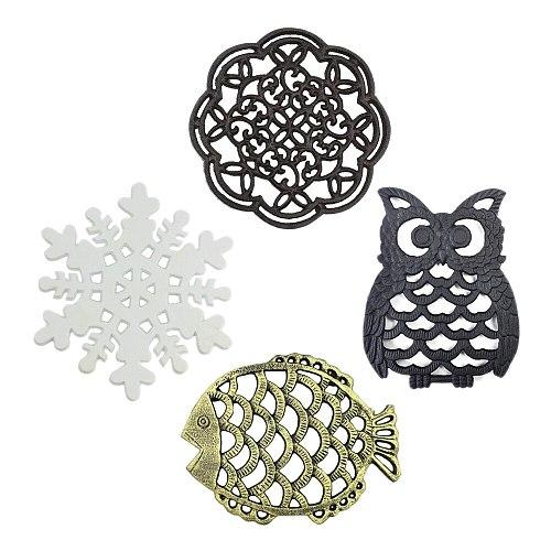 1pc Cast Iron Teapot Trivet Vintage Flower/Owl/Fish/Snowflake Round Pot Holder Hollow Mat Insulation Pad Table Decor Kitchen Bar
