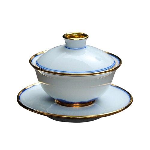 Tea Cup Set Blue and White Porcelain Gaiwan Tea Bowl Saucer Filter Puer Teacup Teaware Drinkware Master Vintage Tea Bowl Cups