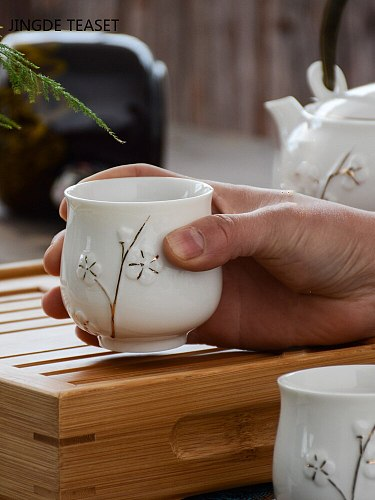 2 pcs/lot Boutique Ceramic Teacup Water cup with handle Chinese Handmade tea bowl Single cup Master Cups Home drinking Teaware