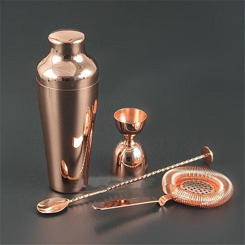 Cocktail Shaker Bar Set Copper Gold Plated Shaker Barware Set - 4 Pieces Bartender Kit Includes Shaker, Jigger,Strainer,Spoon