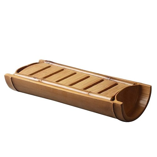 Bamboo Gongfu Tea Tray Ceremony Accessories Water Storage with Draining Shelf Teapot Trivets Saucer Large Holder