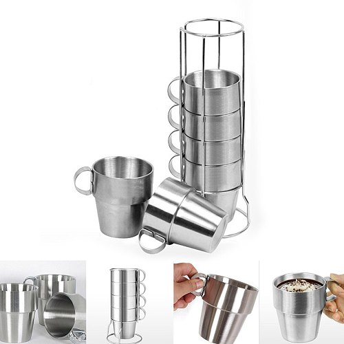 Newly 6 Pcs/Set Stainless Steel Insulated Cups Coffee Mugs Double Layer Heat Insulation Kit MK