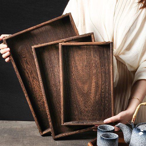 Japanese tableware wooden tray food tray creative rectangular wooden tea tray home kitchen storage tray restaurant service tray