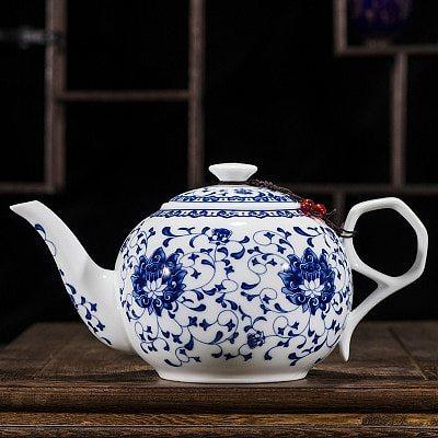 China  Blue and white thin porcelain teapot High capacity 320ML 1L Ceramic tea pot traditional chinese tea set