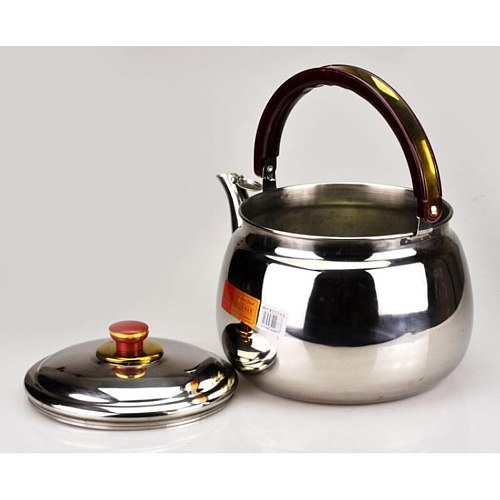 Mini Stainless Steel Whistling Kettle Kitchen Tea Pot with PP plastic grooved handle for Kitchen Dining Teapots Outdoor Camping
