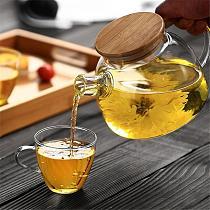 600ml Glass Teapot Heat Resistant Flower Tea Pot Water Milk Coffe Bottle Pot With Bamboo Lid With Infuser Tea Leaf Herbal Coffe