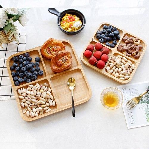 4 grid bamboo snack tray fruit bread tray tray storage box shelf tea tray kitchen party supplies WF9174