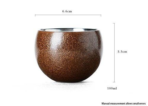 Special Offer 70ml Taiwan Coarse Pottery Precious Metal Pure Silver Teacup Kung Fu Tea Set Puer Health Tea Cup Drinkware