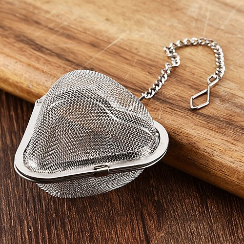 1Pcs Stainless Steel Leaf Spice Strainer Heart Shape Multi Purpose Silver Tea Filter Reticular Reusable Kitchen Gadgets