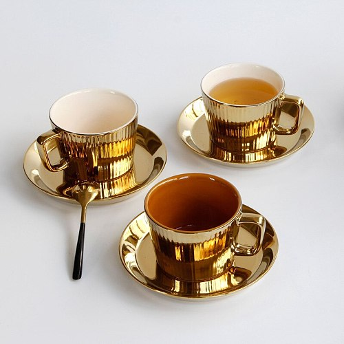 European Luxurious Plating Gold Ceramic Coffee Cup with Saucer Hotel Restaurant Cappuccino Latte Milk Mug Creative Office Teacup