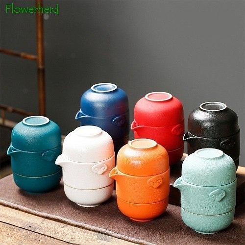 Ceramic Kung Fu Tea Set Tea Travel Teaware One Pot Two Cups with Bag Chinese Tea Set Tea Pot and Cup Set Kungfu Tea Set