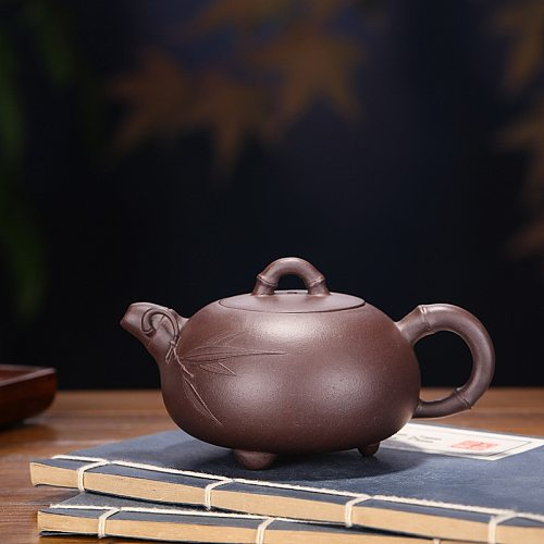 Yixing Raw Ore Handmade Purple Clay Three-legged Bamboo Teapot Suit For Drink Drinkware Chinese Culture