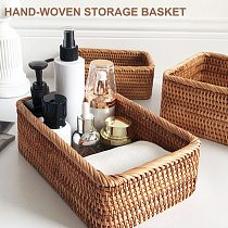 1pcs Hand-Woven Storage Basket Rattan Wicker Basket For Snack Fruit Tea Bread Picnic Cosmetic Storage Tray Kitchen Supplies Tool