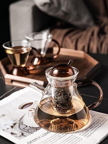 European Teapots Luxury Heat Resisting Glass Afternoon Tea Tea Flower Dissolves Teasets Tea Infuser Tetera Chinese Tea EI50TP