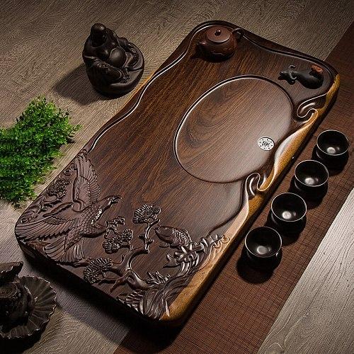 Chinese Kung Fu Tea Set Tea Sea Carved Tray Whole Piece of Ebony Solid Wood Tea Tray Living Room Large Tea Table with Drainage