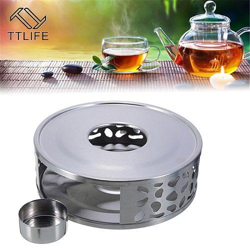 Portable Warmer Tea Holder Stainless Steel Coffee Candle Warmer Tea Light Holder Trivets Coffee Warmer Heating Base Teapot Hold
