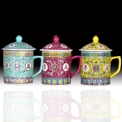 Tea Cup , Ceramic Porcelain Tea Cup during the Republic of China Exquisite Porcelain Hand-painted famille porcelain Tea Cups