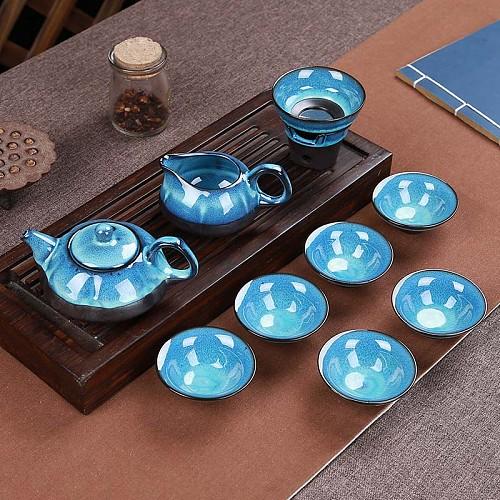 Jun Porcelain fish tea set ceramic teapot kettle ceramic tea cup fish chinese kung fu tea set drinkware