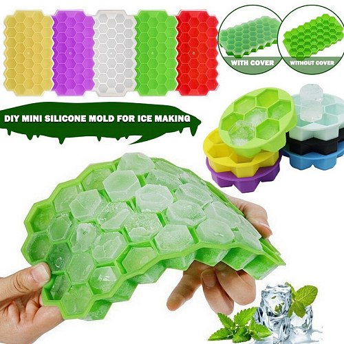 37Cell Honeycomb Ice Cube Tray Silicone Ice Cube Molds With Lid Home Summer Ice Cream Whiskey Cocktail Cold Drink Make Tool 2021