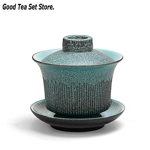 7oz Retro Green Gaiwan Porcelain Teaset Kung Fu Tea Set Ceramic Cup with Lid Cover Saucer Kit Master Teacup Drinkware 210ML Gift