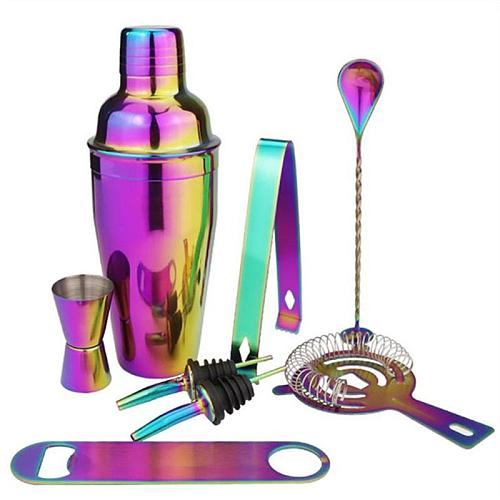 8-Piece Cocktail Shaker Set Cocktail Tools Convenient Colorful Plating Durable Iced Coffee Cocktail Barware Bar Bartending Tools