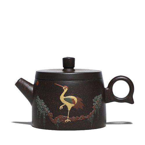 160ML Yixing Teapot Purple Clay Zisha Kettle Handpainted Crane Teaware Send Gift Box