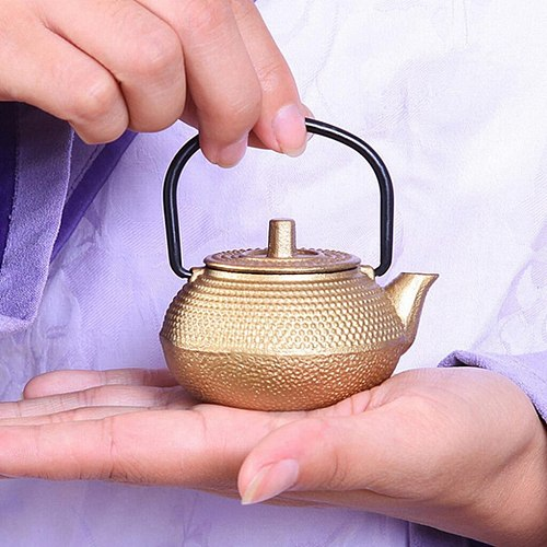 1pc Cast Iron Teapot Japanese Tetsubin Tea Kettle Small Metal Tea Pot 50ml