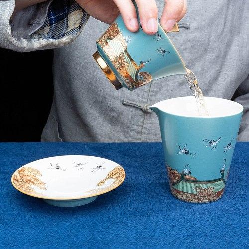 Ceramic Enamel Color Cover Bowl Teacup Forbidden City Sancai Gaiwan Kung Fu Tea Cup Teaware Tea Ceremony Gong Dao Cup Drinkware