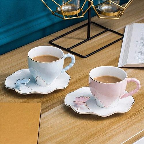 Nordic Ceramic Light Luxury Coffee Cup with Saucer Set Simple Phnom Penh Office Afternoon Teacup Porcelain Breakfast Milk Mug
