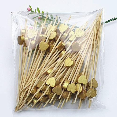 12cm 100Pc Golden Peach Heart Fruit Fork Sticks Buffet Cupcake Toppers Cocktail Fork Wedding Festival Decorations Birthday Party