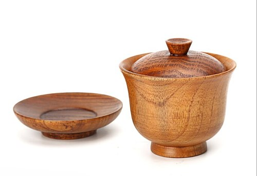 Tableware and saucer set household Korean three sets of bowls solid wood wooden bowls wooden cups