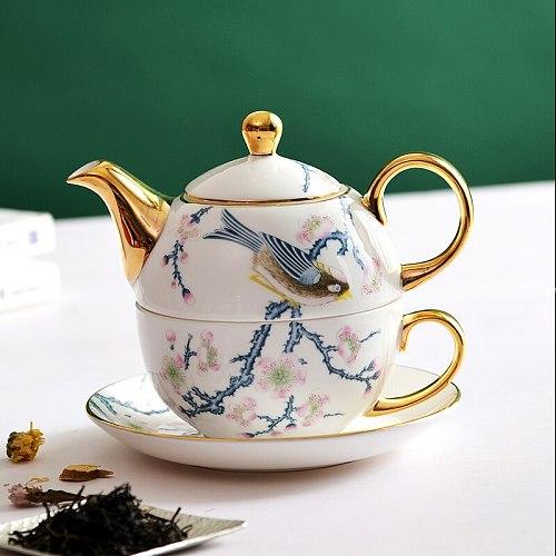 Bone china Coffee Teapot Set 1 peoples British Teacup & Saucer Porcelain Afternoon Tea Time Office Coffee set  Cafe Decoration