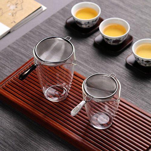 Vintage Chinese Tea Infuser Stainless Steel Dual Mesh Tea Strainer Loose Leaf Tea Filter Ceramic Handle Gongfu Tea Accessories