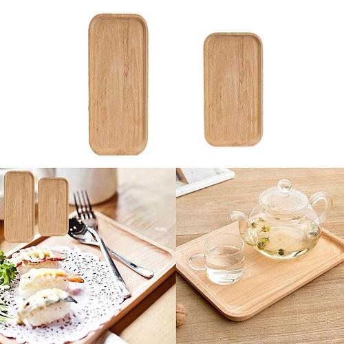 New Japanese Food Rectangular Plate Wooden Serving Tray Tea Cup Saucer Trays Fruit Plate Storage Pallet Plate Decoration