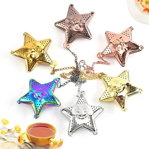 Star Tea Mesh Infuser Colorful Stainless Steel Tea Strainer Spice Filter Drinkware Gadget Kitchen Tools Accessories