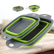 Foldable Drain Basket Colander Fruit Vegetable Washing Basket Strainer Silicone Colander Collapsible Drainer Home Kitchen Tool