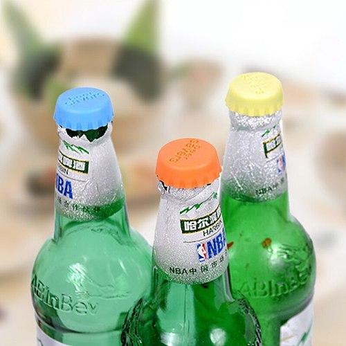 6 Pcs/set Silicone Beer Bottle Cap Reuse Practical Colorful Wine Beer Beverage Sealer Stopper Cover pinkycolor Beverage lid