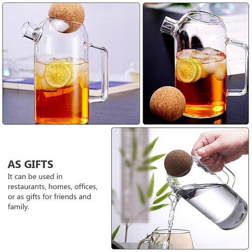 1pc Cork Glass Tea Kettle Thick Glass Teapot Jar Tea Pitcher for Home Use