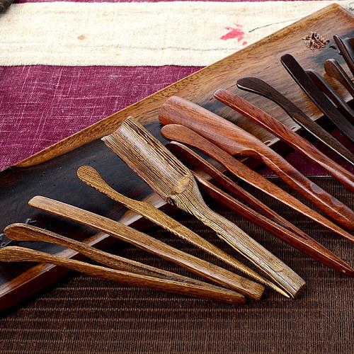 Vintage Handmade Wood Puer Tea Tools Accessories Teaware Set Include Needle Spoon Clip Knife Set 4pc/set