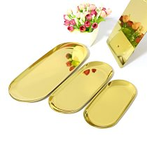 Stainless Steel Towel Tray Storage Tray Dish Plate Tea Tray Fruit Trays Cosmetics Jewelry Oval Organizer Display Trays
