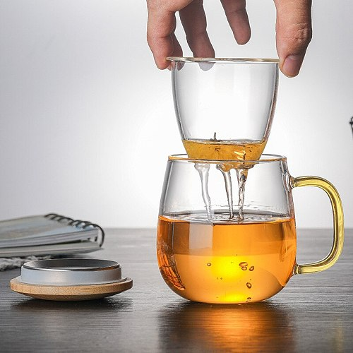 Creative Glass Tea Infuser Cup With Transparent Filter Handle Bamboo Lid Heat-resistant Flower Teacup Office Tea Mug Drinkware