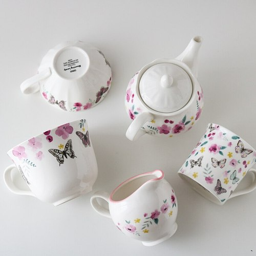Lady Style Afternoon Tea Fresh Peach Blossom Butterfly Design Coffee Cup/Teapot/Milk Jug