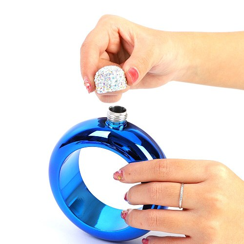 Portable Stainless Steel Hip Flask Funnel Bangle Jug 3.5 oz Wine Mixed Bottle Alcohol Bracelet Camping Flagons Drinkware
