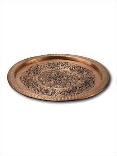 Morya Copper Tea Coffee Sugar Bowl Serving Tray Decorative Pan Plate Dessert Dinner Elegant Tableware Set Table Luxory 20 cm
