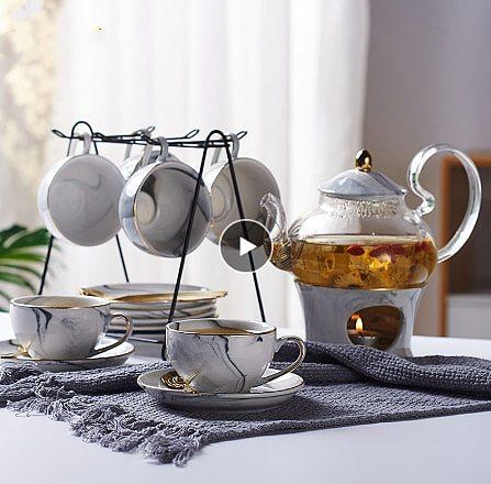 Marbling Porcelain Tea Set Nordic Ceramic Tea Cup Pot with Candler Strainer Floral Teapot Set Cafe Mug Teaware Coffee Cup Teacup