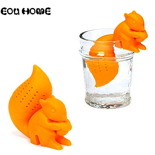 4 Colors Tea Infusers Cute Squirrel Shape Silicone Strainers Tea Strainer Infuser Filter Empty Tea Bag Leaf Diffuser Accessories