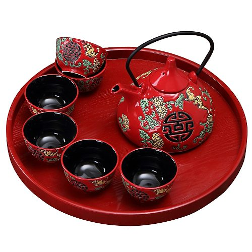 China Red Ceramic Tea Set Home Teapot 6 Teacups Kung Fu Black Tea Jin Jun Mei Teaware Creative Wedding New Wedding Gift Box