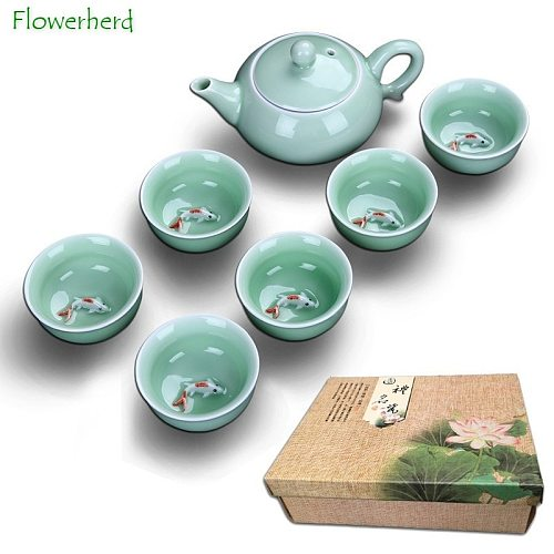 Ceramic Porcelain Tea Set Teaware Tea Pot Tea Cup Celadon Fish Cup Tea Set Teapot Creative Kung Fu Tea Set Tea Cup Set of 6