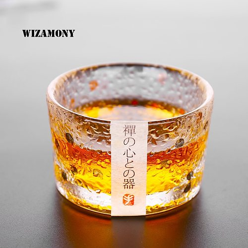 WIZAMONY Hot Sale Heat Resistant Bowl Kungfu Tea Set Glass Japanese Type Gold Drawing Teacup Bowl